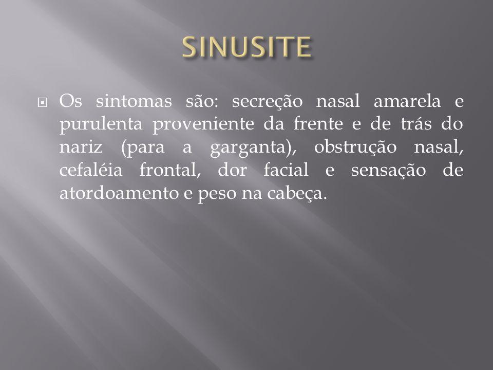 Os sintomas são: secreção nasal amarela e purulenta proveniente da frente e de trás do nariz (para a garganta), obstrução nasal, cefaléia frontal, dor