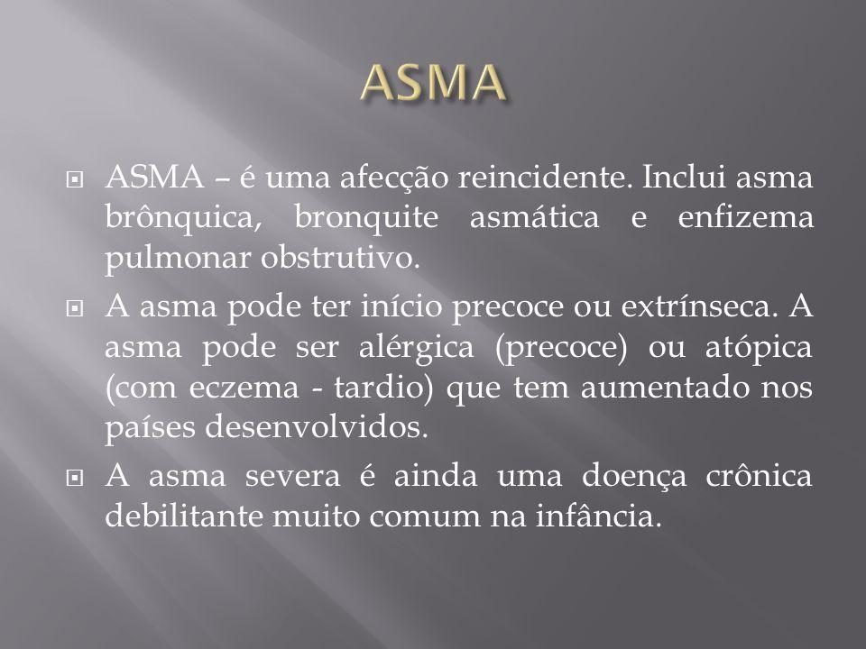 ASMA – é uma afecção reincidente. Inclui asma brônquica, bronquite asmática e enfizema pulmonar obstrutivo. A asma pode ter início precoce ou extrínse
