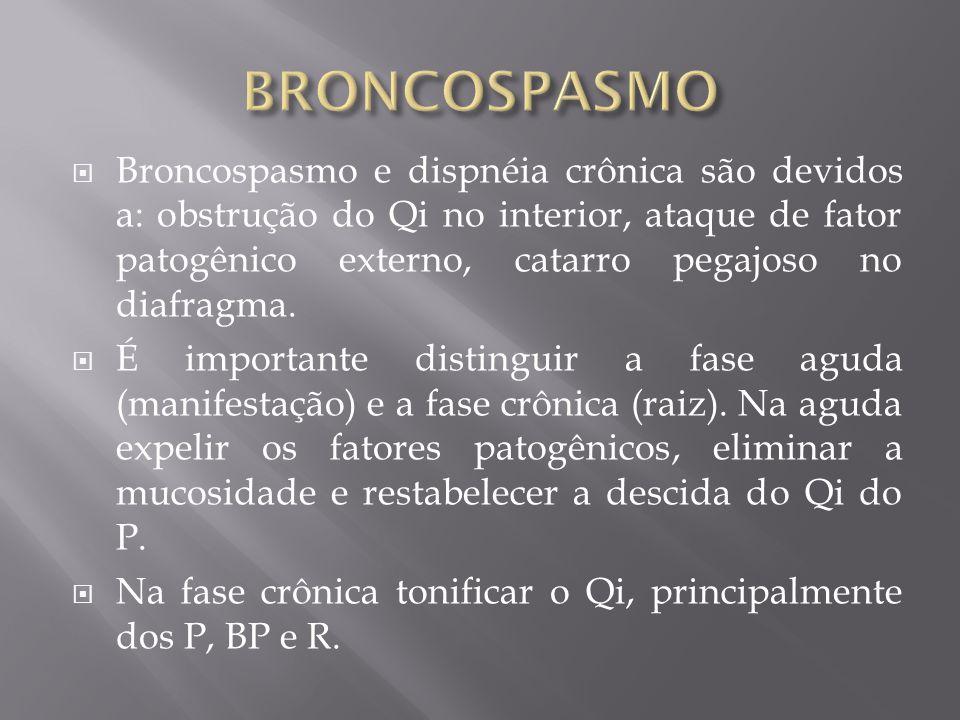 Broncospasmo e dispnéia crônica são devidos a: obstrução do Qi no interior, ataque de fator patogênico externo, catarro pegajoso no diafragma. É impor