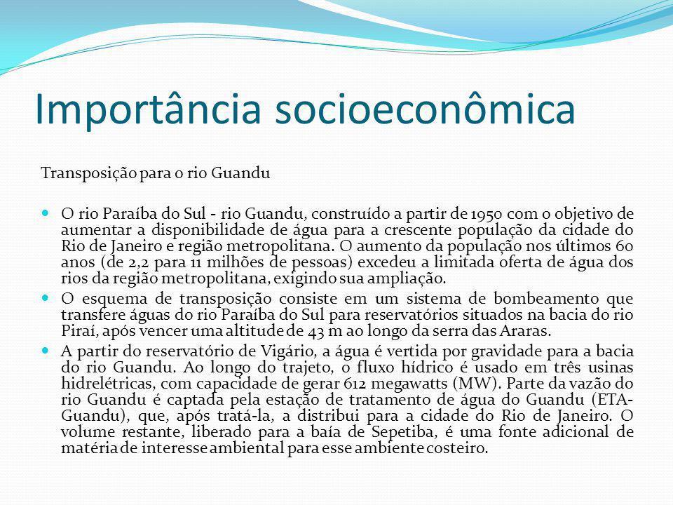 Importância socioeconômica Transposição para o rio Guandu O rio Paraíba do Sul - rio Guandu, construído a partir de 1950 com o objetivo de aumentar a disponibilidade de água para a crescente população da cidade do Rio de Janeiro e região metropolitana.