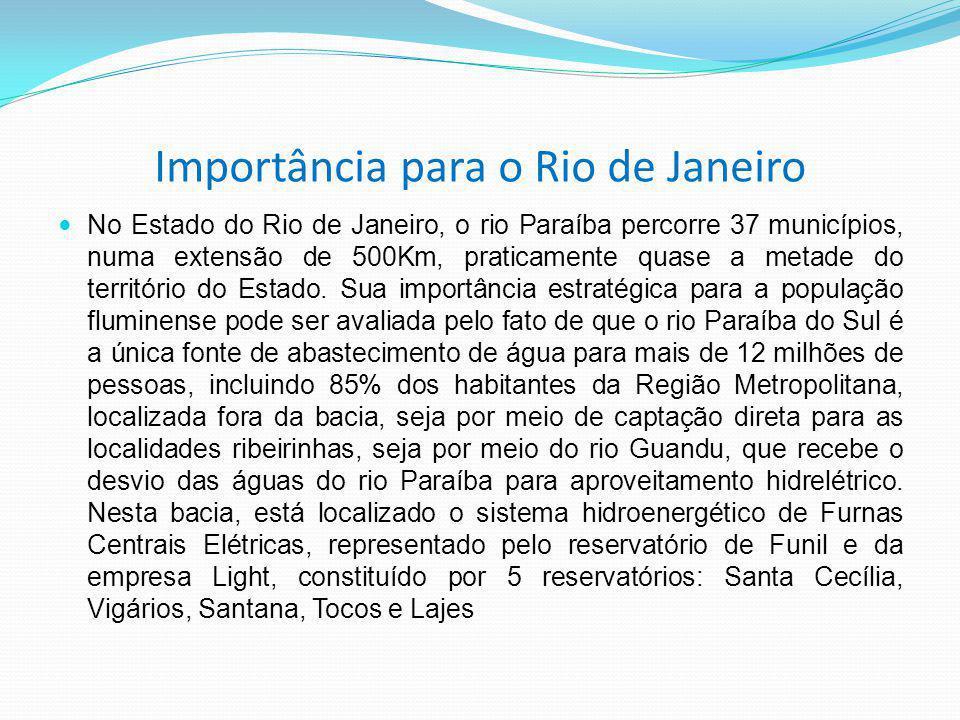Importância para o Rio de Janeiro No Estado do Rio de Janeiro, o rio Paraíba percorre 37 municípios, numa extensão de 500Km, praticamente quase a metade do território do Estado.