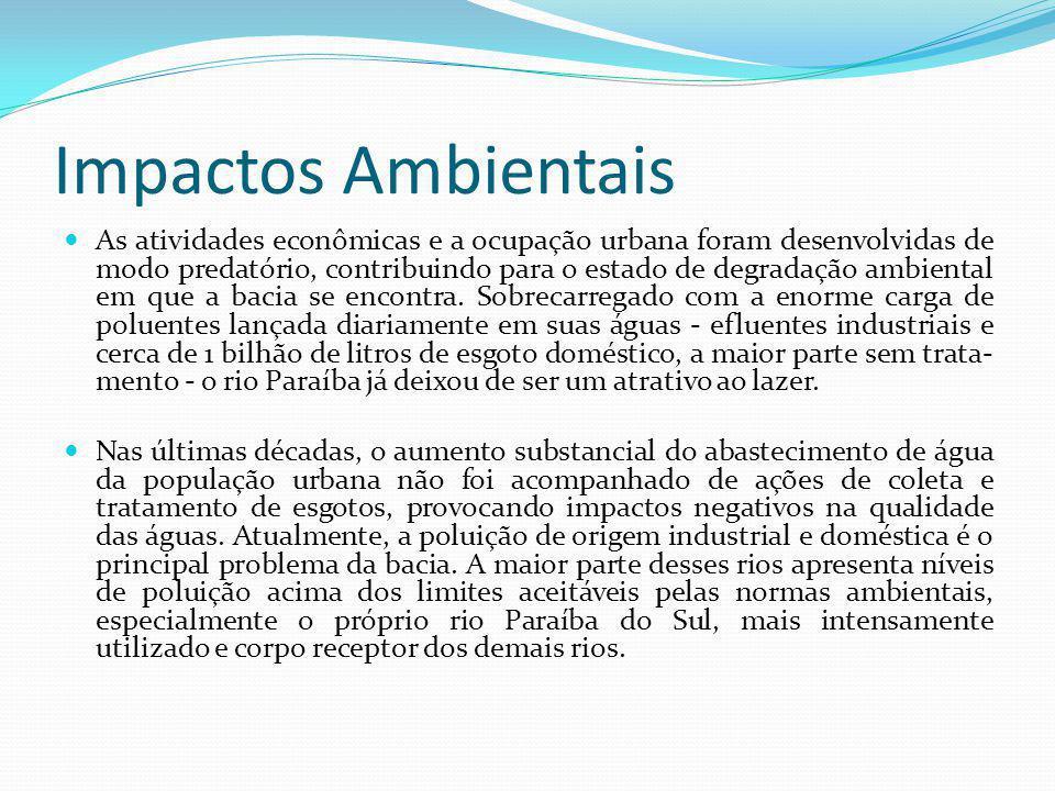 Impactos Ambientais As atividades econômicas e a ocupação urbana foram desenvolvidas de modo predatório, contribuindo para o estado de degradação ambiental em que a bacia se encontra.