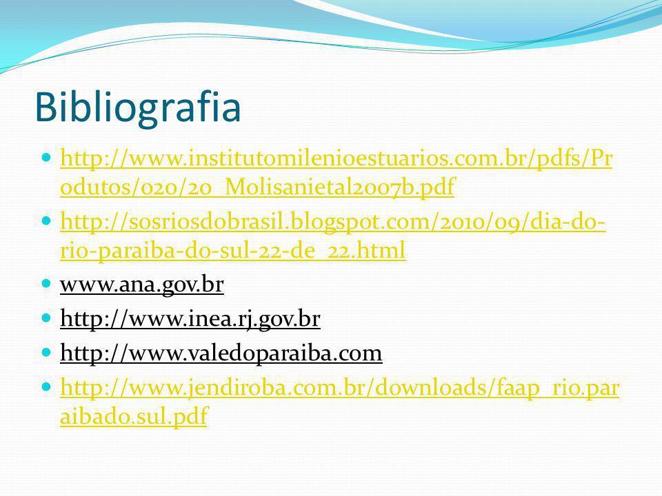 Bibliografia http://www.institutomilenioestuarios.com.br/pdfs/Pr odutos/020/20_Molisanietal2007b.pdf http://www.institutomilenioestuarios.com.br/pdfs/Pr odutos/020/20_Molisanietal2007b.pdf http://sosriosdobrasil.blogspot.com/2010/09/dia-do- rio-paraiba-do-sul-22-de_22.html http://sosriosdobrasil.blogspot.com/2010/09/dia-do- rio-paraiba-do-sul-22-de_22.html www.ana.gov.br http://www.inea.rj.gov.br http://www.valedoparaiba.com http://www.jendiroba.com.br/downloads/faap_rio.par aibado.sul.pdf http://www.jendiroba.com.br/downloads/faap_rio.par aibado.sul.pdf