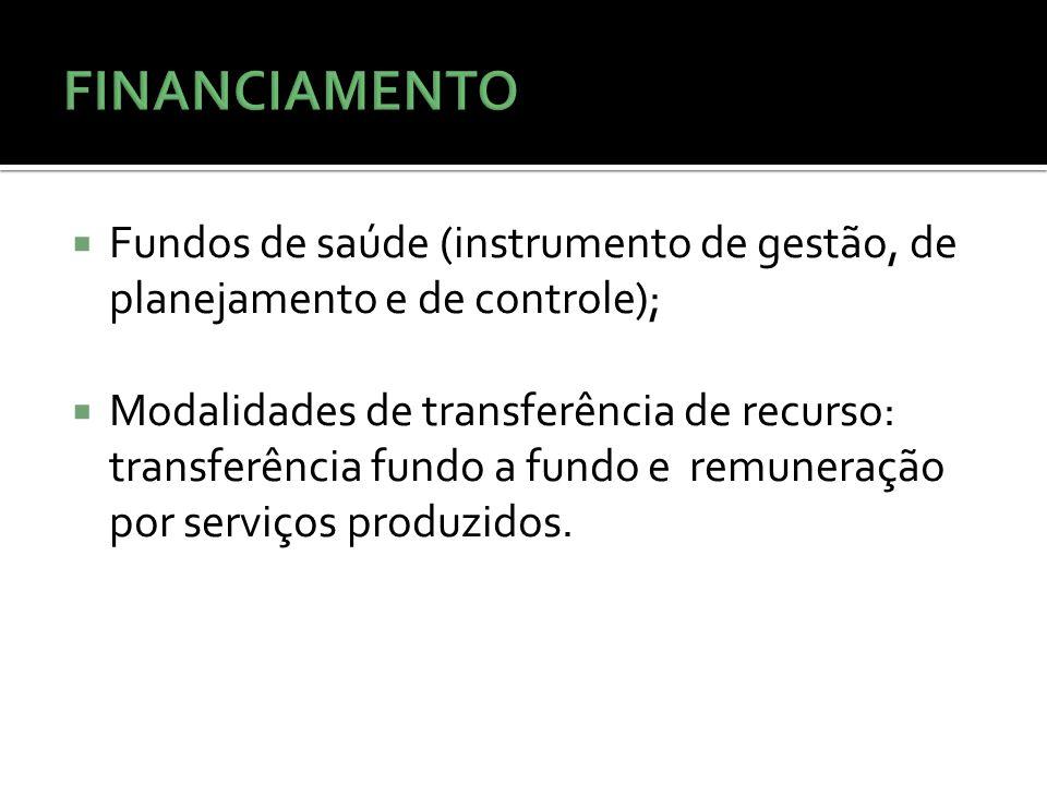 Fundos de saúde (instrumento de gestão, de planejamento e de controle); Modalidades de transferência de recurso: transferência fundo a fundo e remuneração por serviços produzidos.