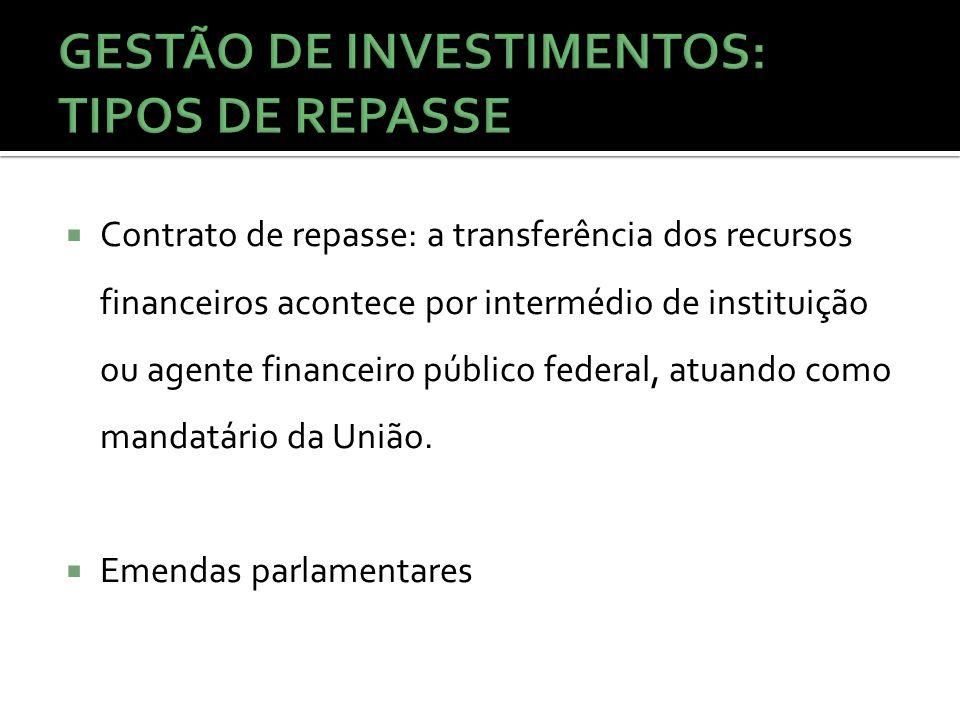 Contrato de repasse: a transferência dos recursos financeiros acontece por intermédio de instituição ou agente financeiro público federal, atuando como mandatário da União.
