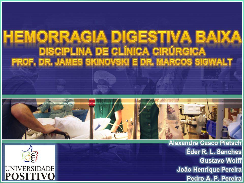 Diagnóstico HEMORRAGIA MACIÇA EM CURSO: Intervenção cirúrgica emergencial (rara) Ressuscitação hídrica e estabilização do paciente Testes diagnósticos primários: -Colonoscopia -Angiografia visceral -Cintilografia com 99mTc Hc