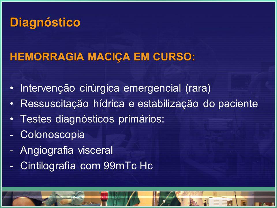 Hemorragia gastrintestinal aguda baixa - Sonda nasogástrica e/ou endoscopia alta - Descartar origem gastrintestinal alta - Proctoscopia - Descartar origem retal - Sonda nasogástrica e/ou endoscopia alta - Descartar origem gastrintestinal alta - Proctoscopia - Descartar origem retal Angiografia mesentérica seletiva Embolização ou Vasoconstritor intra-arterial Colonoscopia Tratamento definitivo Ressecção cirúrgica Hemorragia maciça persistente Baixo fluxo ou hemorragia intermitente Diagnóstica Não-diagnóstica Diagnóstica