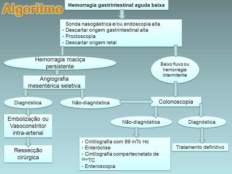 Hemorragia gastrintestinal aguda baixa - Sonda nasogástrica e/ou endoscopia alta - Descartar origem gastrintestinal alta - Proctoscopia - Descartar or