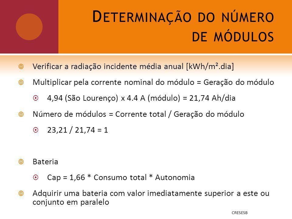 D ETERMINAÇÃO DO NÚMERO DE MÓDULOS Verificar a radiação incidente média anual [kWh/m².dia] Multiplicar pela corrente nominal do módulo = Geração do módulo 4,94 (São Lourenço) x 4.4 A (módulo) = 21,74 Ah/dia Número de módulos = Corrente total / Geração do módulo 23,21 / 21,74 = 1 Bateria Cap = 1,66 * Consumo total * Autonomia Adquirir uma bateria com valor imediatamente superior a este ou conjunto em paralelo CRESESB