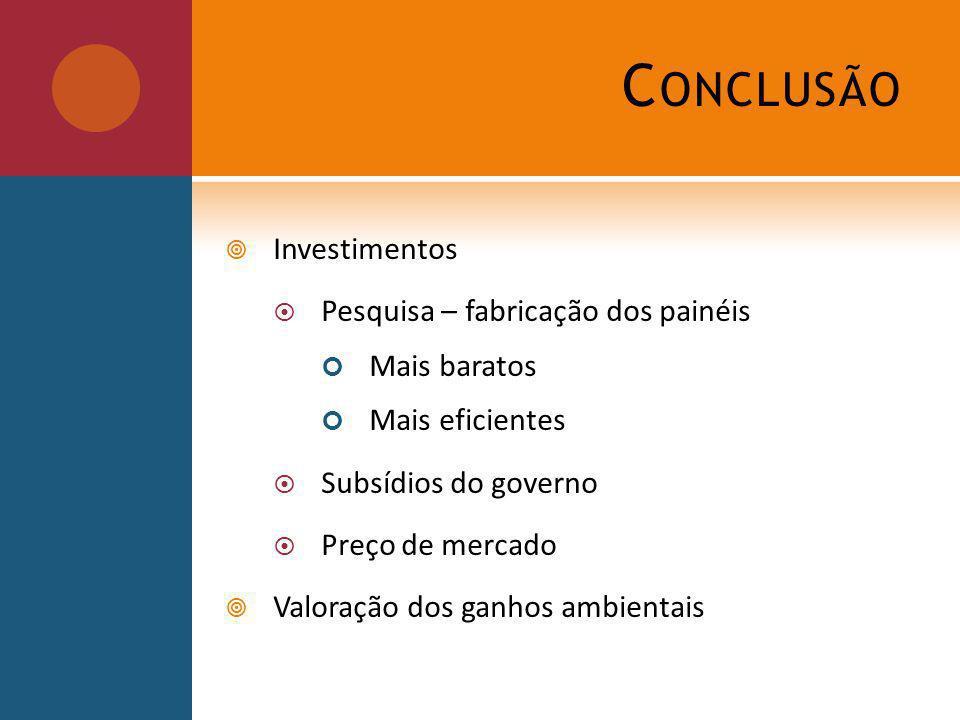 C ONCLUSÃO Investimentos Pesquisa – fabricação dos painéis Mais baratos Mais eficientes Subsídios do governo Preço de mercado Valoração dos ganhos ambientais