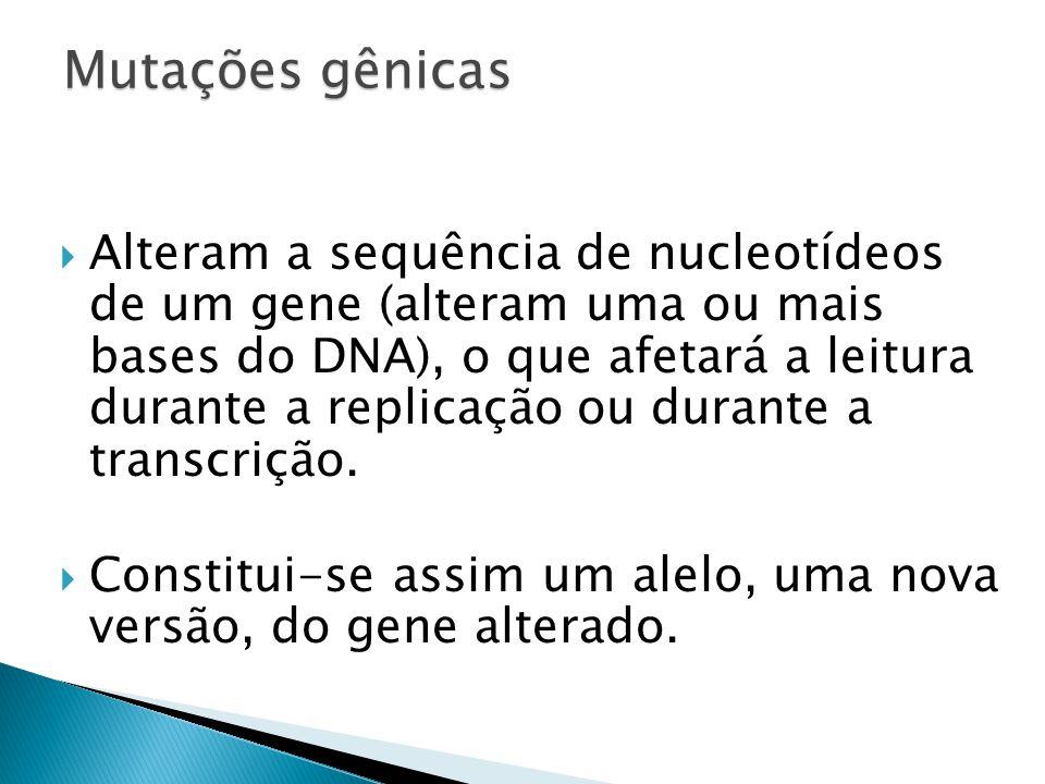 Alteram a sequência de nucleotídeos de um gene (alteram uma ou mais bases do DNA), o que afetará a leitura durante a replicação ou durante a transcrição.