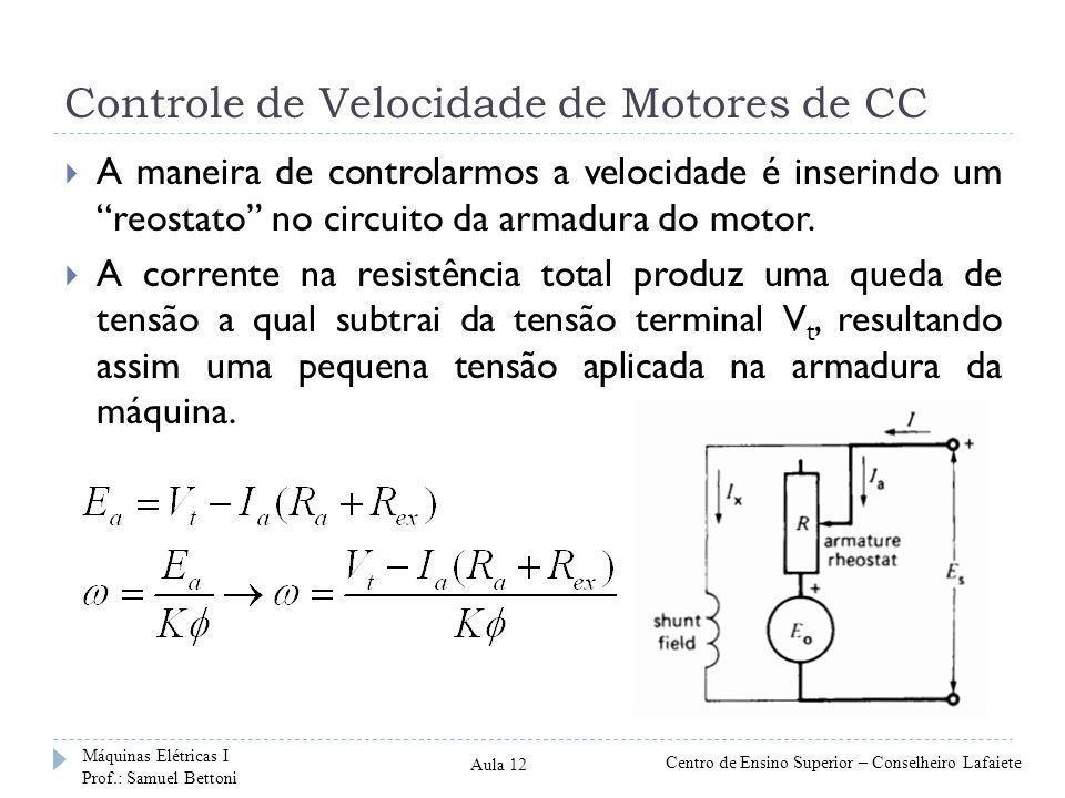 Controle de Velocidade de Motores de CC A maneira de controlarmos a velocidade é inserindo um reostato no circuito da armadura do motor. A corrente na
