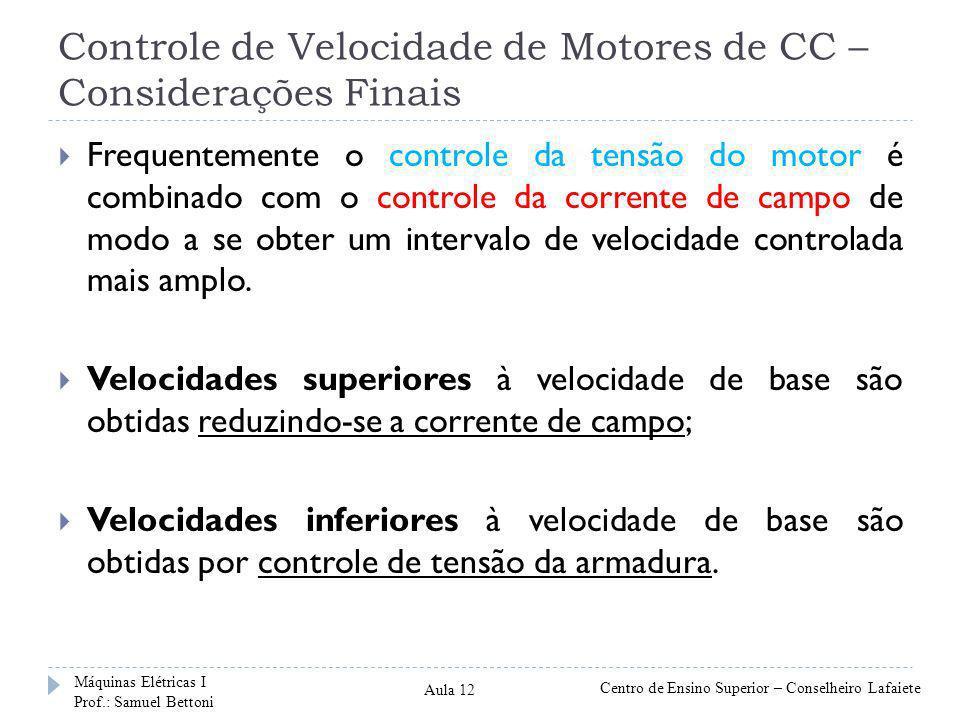 Controle de Velocidade de Motores de CC – Considerações Finais Frequentemente o controle da tensão do motor é combinado com o controle da corrente de campo de modo a se obter um intervalo de velocidade controlada mais amplo.