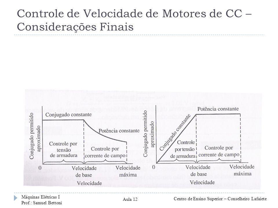 Controle de Velocidade de Motores de CC – Considerações Finais Máquinas Elétricas I Prof.: Samuel Bettoni Centro de Ensino Superior – Conselheiro Lafa