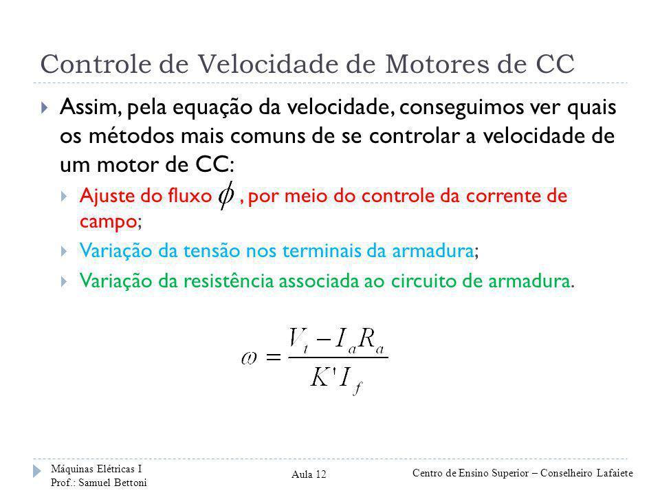 Controle de Velocidade de Motores de CC Assim, pela equação da velocidade, conseguimos ver quais os métodos mais comuns de se controlar a velocidade d