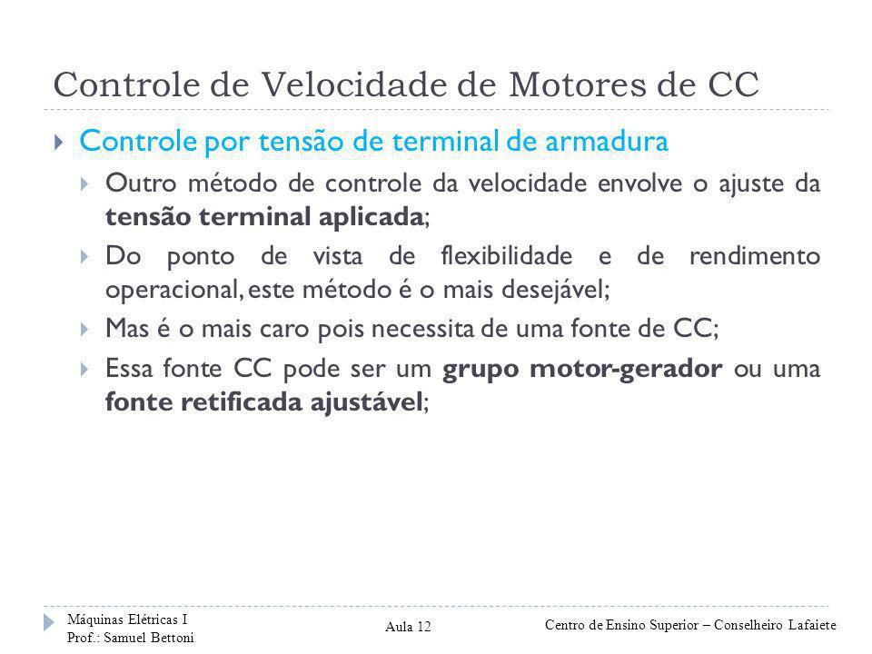 Controle de Velocidade de Motores de CC Considerando que a queda de tensão no circuito de armadura (I a R a ) é muito pequena, podemos dizer que a tensão de armadura (E a ) é praticamente igual a tensão terminal (V t ).