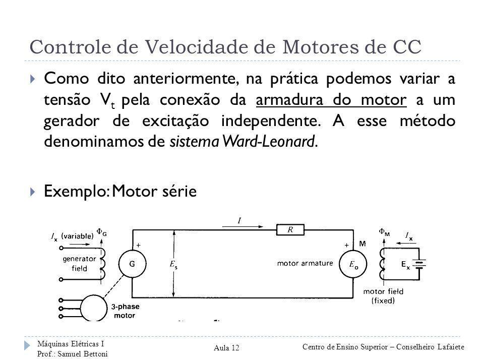 Controle de Velocidade de Motores de CC Como dito anteriormente, na prática podemos variar a tensão V t pela conexão da armadura do motor a um gerador de excitação independente.
