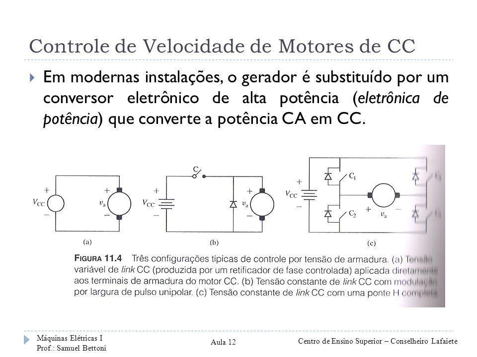 Controle de Velocidade de Motores de CC Em modernas instalações, o gerador é substituído por um conversor eletrônico de alta potência (eletrônica de potência) que converte a potência CA em CC.