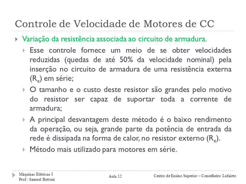 Controle de Velocidade de Motores de CC Variação da resistência associada ao circuito de armadura. Esse controle fornece um meio de se obter velocidad