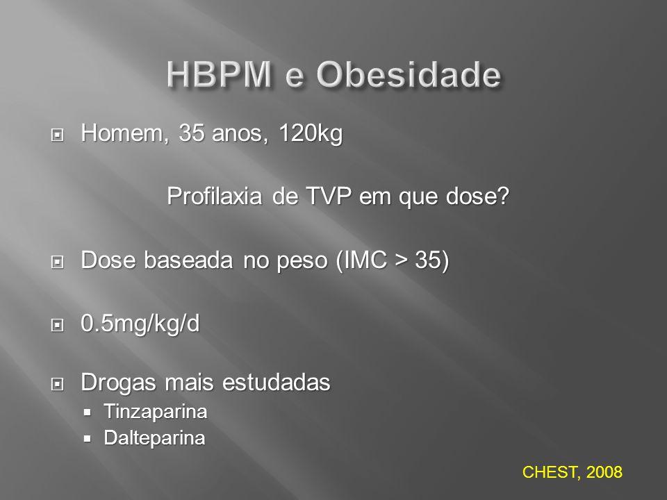 Homem, 35 anos, 120kg Homem, 35 anos, 120kg Profilaxia de TVP em que dose? Dose baseada no peso (IMC > 35) Dose baseada no peso (IMC > 35) 0.5mg/kg/d
