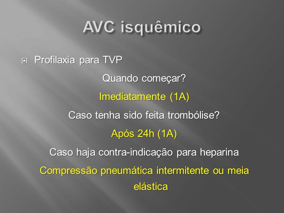 Profilaxia para TVP Profilaxia para TVP Quando começar? Imediatamente (1A) Caso tenha sido feita trombólise? Após 24h (1A) Caso haja contra-indicação