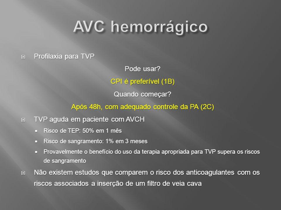 Profilaxia para TVP Profilaxia para TVP Pode usar? CPI é preferível (1B) Quando começar? Após 48h, com adequado controle da PA (2C) TVP aguda em pacie