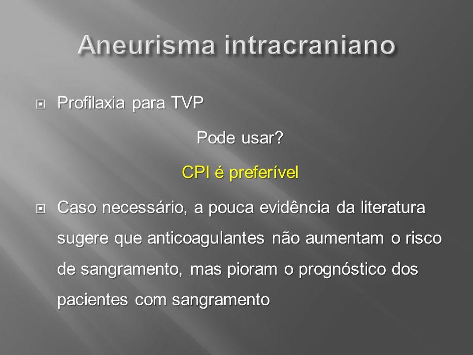 Profilaxia para TVP Profilaxia para TVP Pode usar? CPI é preferível Caso necessário, a pouca evidência da literatura sugere que anticoagulantes não au