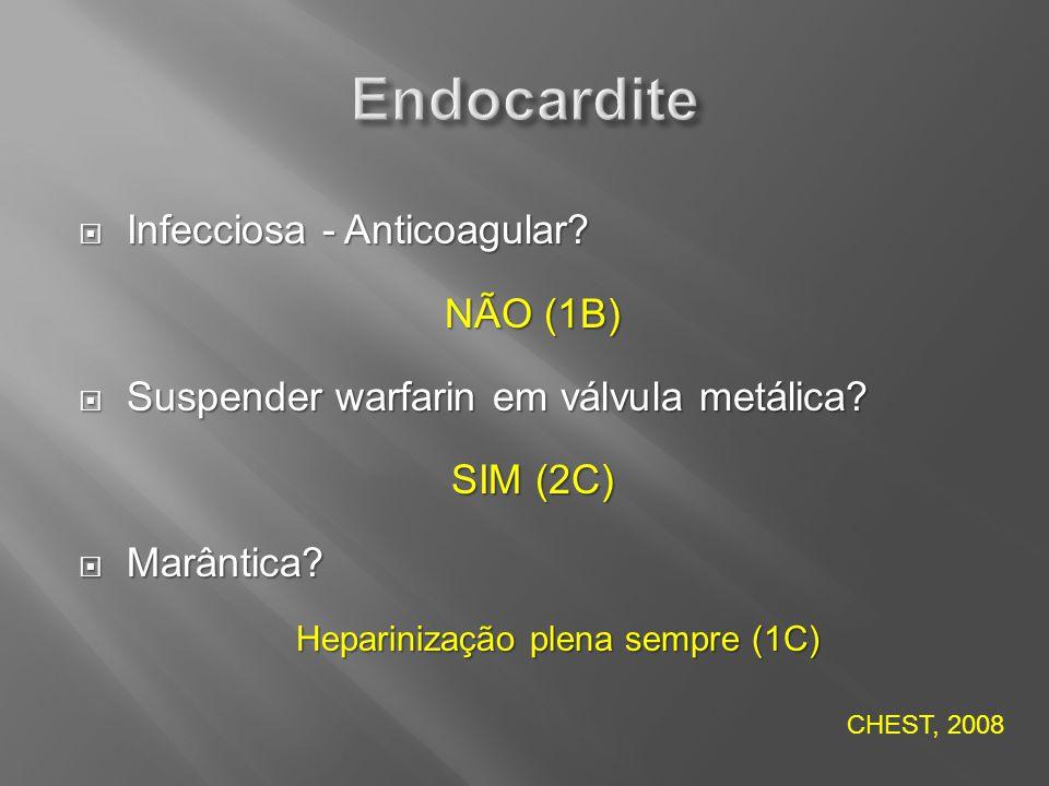 Infecciosa - Anticoagular? Infecciosa - Anticoagular? NÃO (1B) Suspender warfarin em válvula metálica? Suspender warfarin em válvula metálica? SIM (2C