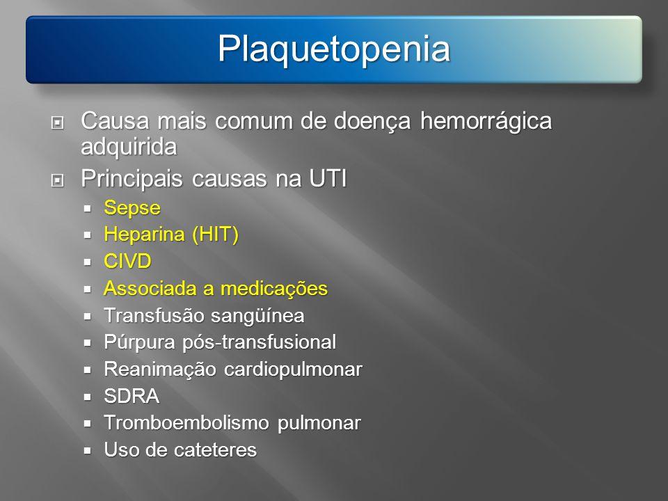 Plaquetopenia Causa mais comum de doença hemorrágica adquirida Causa mais comum de doença hemorrágica adquirida Principais causas na UTI Principais ca