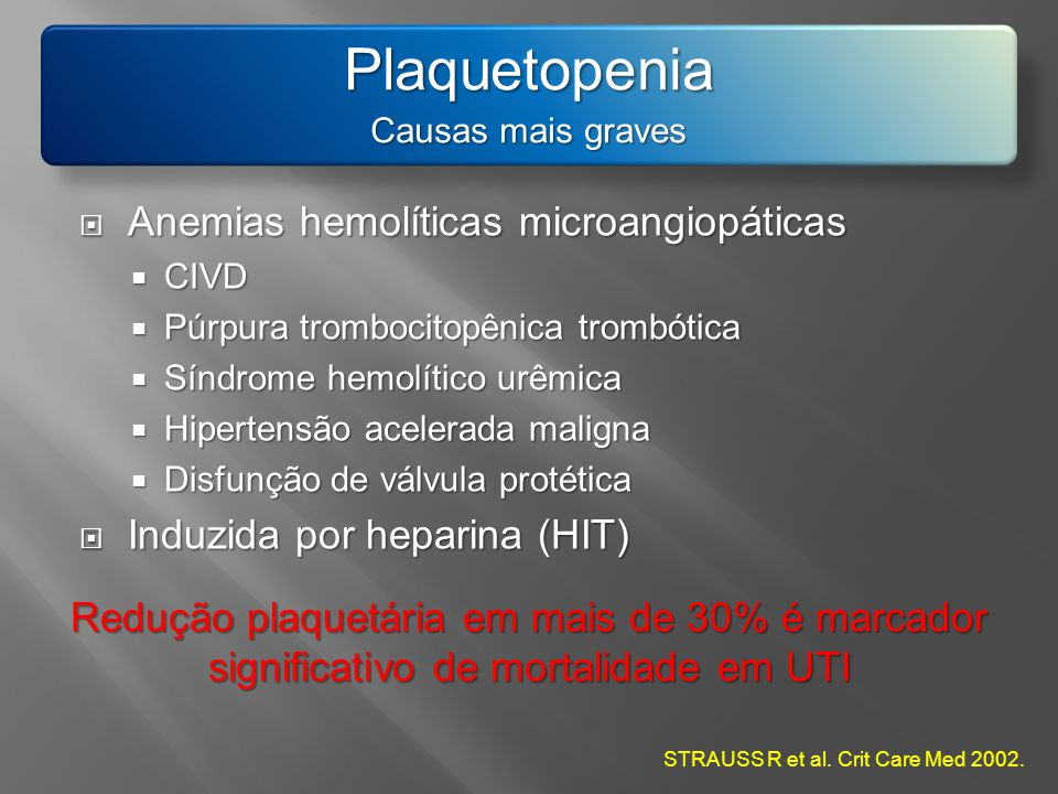 Plaquetopenia Causas mais graves Anemias hemolíticas microangiopáticas Anemias hemolíticas microangiopáticas CIVD CIVD Púrpura trombocitopênica trombó