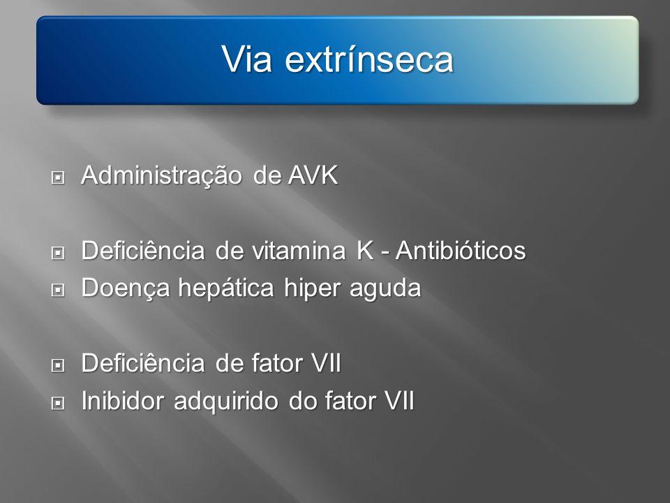 Administração de AVK Administração de AVK Deficiência de vitamina K - Antibióticos Deficiência de vitamina K - Antibióticos Doença hepática hiper agud