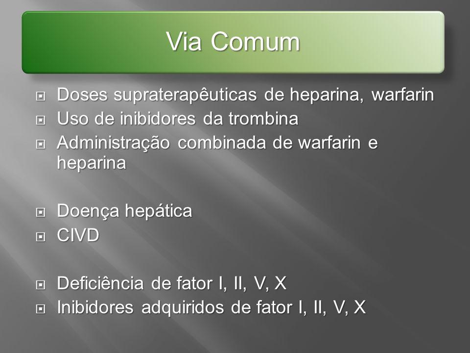 Doses supraterapêuticas de heparina, warfarin Doses supraterapêuticas de heparina, warfarin Uso de inibidores da trombina Uso de inibidores da trombin