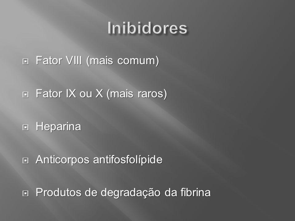 Fator VIII (mais comum) Fator VIII (mais comum) Fator IX ou X (mais raros) Fator IX ou X (mais raros) Heparina Heparina Anticorpos antifosfolípide Ant