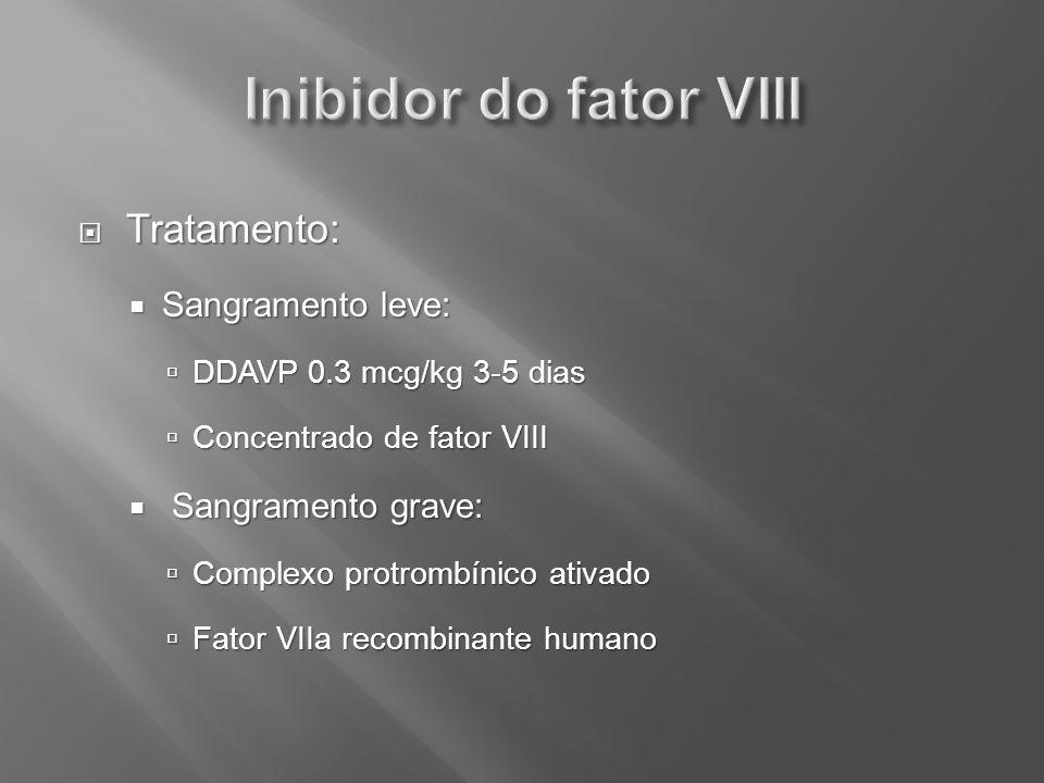 Tratamento: Tratamento: Sangramento leve: Sangramento leve: DDAVP 0.3 mcg/kg 3-5 dias DDAVP 0.3 mcg/kg 3-5 dias Concentrado de fator VIII Concentrado