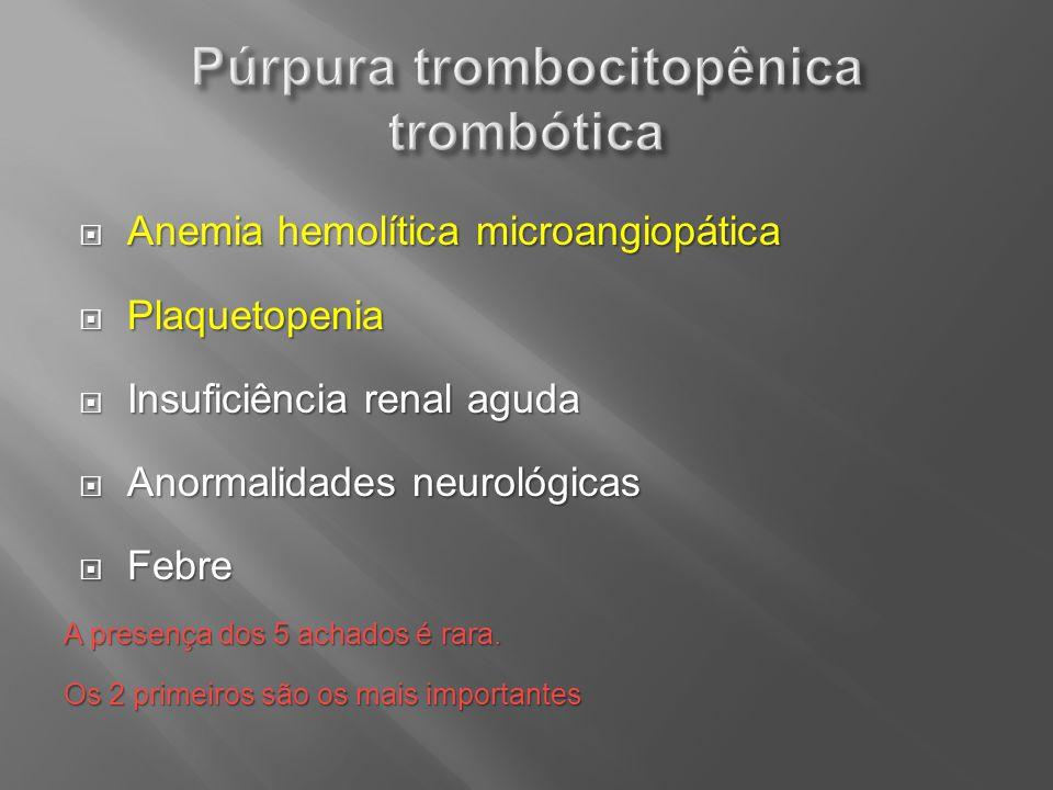 Anemia hemolítica microangiopática Anemia hemolítica microangiopática Plaquetopenia Plaquetopenia Insuficiência renal aguda Insuficiência renal aguda