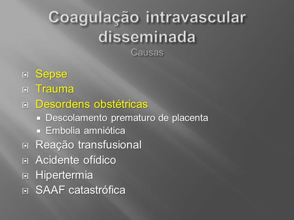 Sepse Sepse Trauma Trauma Desordens obstétricas Desordens obstétricas Descolamento prematuro de placenta Descolamento prematuro de placenta Embolia am