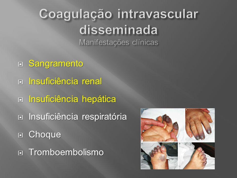 Sangramento Sangramento Insuficiência renal Insuficiência renal Insuficiência hepática Insuficiência hepática Insuficiência respiratória Insuficiência