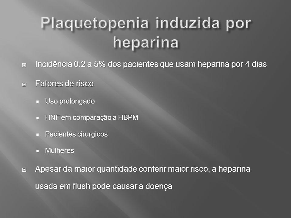 Incidência 0.2 a 5% dos pacientes que usam heparina por 4 dias Incidência 0.2 a 5% dos pacientes que usam heparina por 4 dias Fatores de risco Fatores