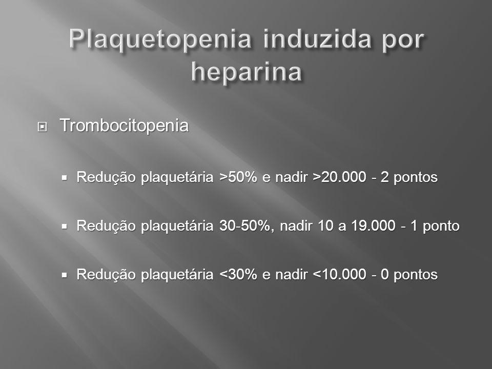 Trombocitopenia Trombocitopenia Redução plaquetária >50% e nadir >20.000 - 2 pontos Redução plaquetária >50% e nadir >20.000 - 2 pontos Redução plaque