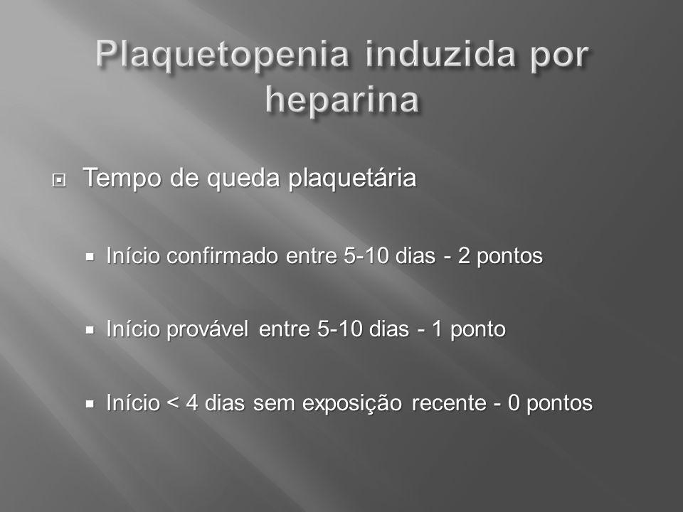 Tempo de queda plaquetária Tempo de queda plaquetária Início confirmado entre 5-10 dias - 2 pontos Início confirmado entre 5-10 dias - 2 pontos Início