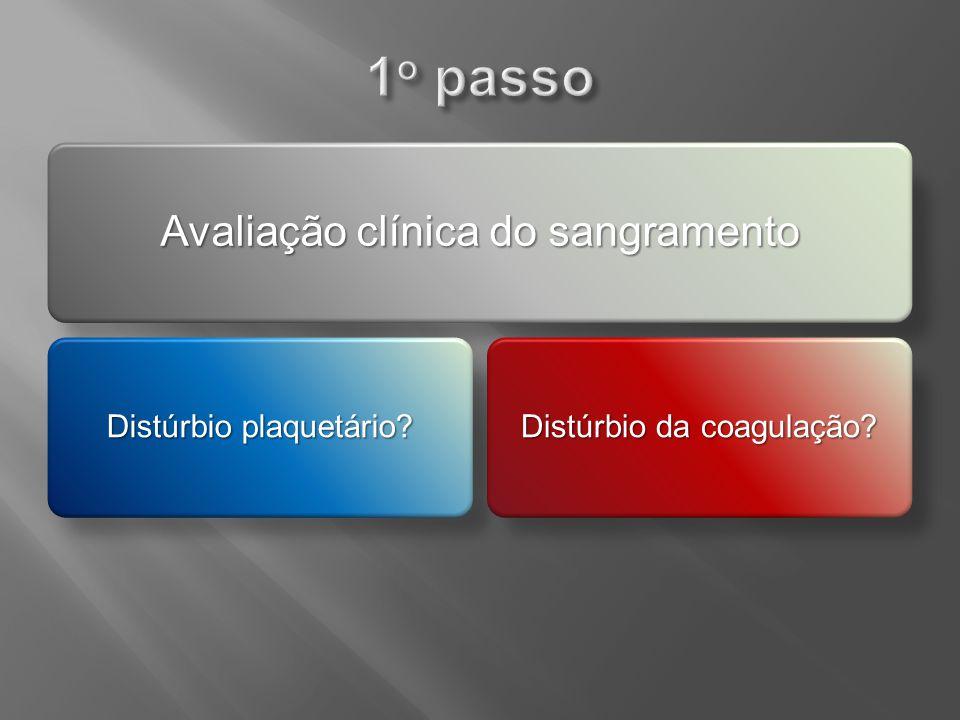 Avaliação clínica do sangramento Distúrbio plaquetário? Distúrbio da coagulação?
