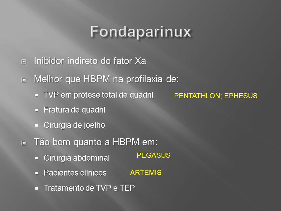 Inibidor indireto do fator Xa Inibidor indireto do fator Xa Melhor que HBPM na profilaxia de: Melhor que HBPM na profilaxia de: TVP em prótese total d
