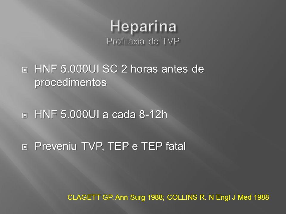 HNF 5.000UI SC 2 horas antes de procedimentos HNF 5.000UI SC 2 horas antes de procedimentos HNF 5.000UI a cada 8-12h HNF 5.000UI a cada 8-12h Preveniu