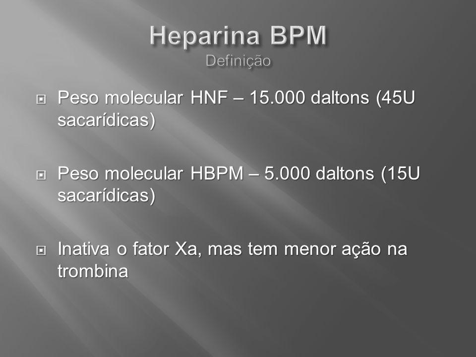 Peso molecular HNF – 15.000 daltons (45U sacarídicas) Peso molecular HNF – 15.000 daltons (45U sacarídicas) Peso molecular HBPM – 5.000 daltons (15U s