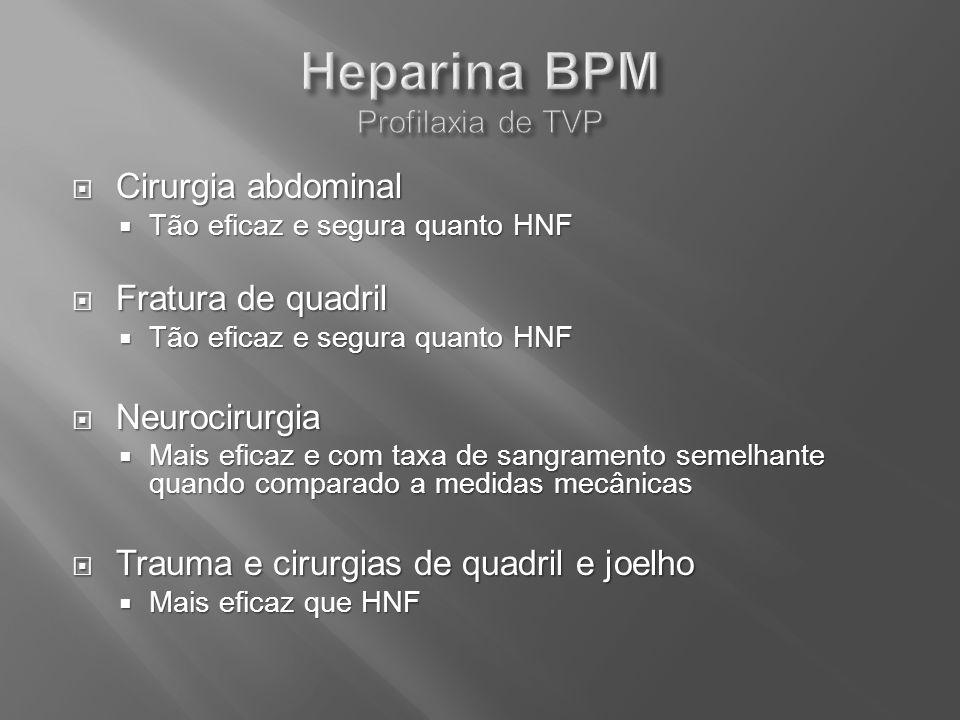 Cirurgia abdominal Cirurgia abdominal Tão eficaz e segura quanto HNF Tão eficaz e segura quanto HNF Fratura de quadril Fratura de quadril Tão eficaz e