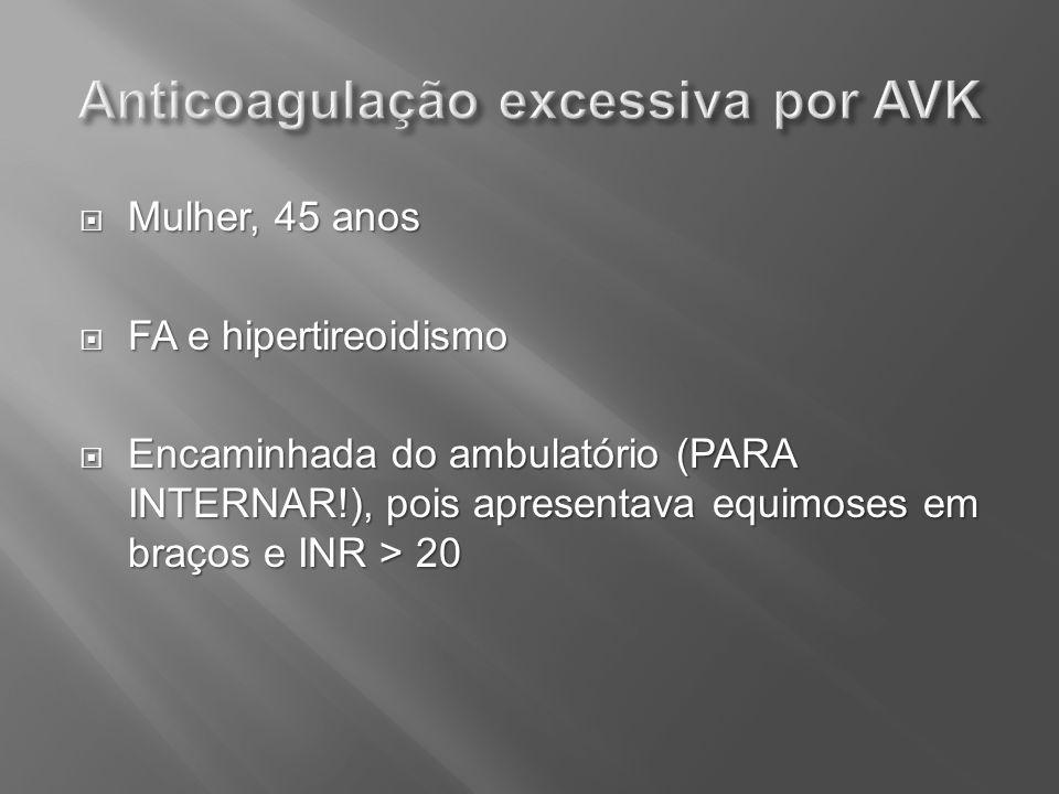 Mulher, 45 anos Mulher, 45 anos FA e hipertireoidismo FA e hipertireoidismo Encaminhada do ambulatório (PARA INTERNAR!), pois apresentava equimoses em
