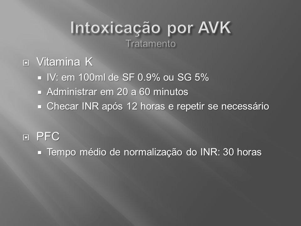 Vitamina K Vitamina K IV: em 100ml de SF 0.9% ou SG 5% IV: em 100ml de SF 0.9% ou SG 5% Administrar em 20 a 60 minutos Administrar em 20 a 60 minutos