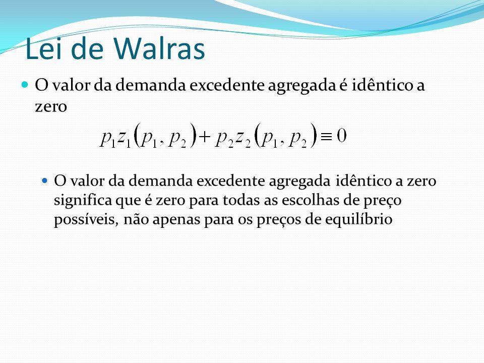 Lei de Walras O valor da demanda excedente agregada é idêntico a zero O valor da demanda excedente agregada idêntico a zero significa que é zero para todas as escolhas de preço possíveis, não apenas para os preços de equilíbrio