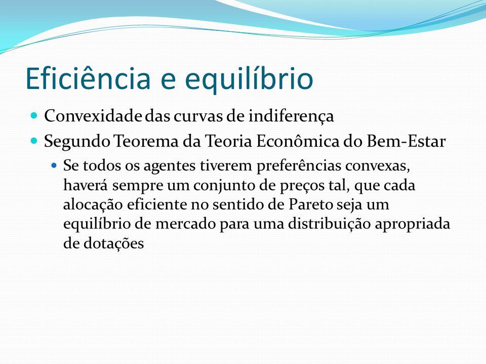 Eficiência e equilíbrio Convexidade das curvas de indiferença Segundo Teorema da Teoria Econômica do Bem-Estar Se todos os agentes tiverem preferência