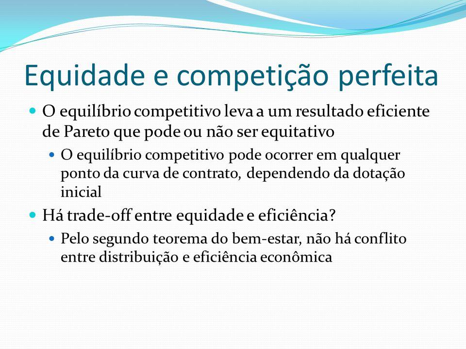 Equidade e competição perfeita O equilíbrio competitivo leva a um resultado eficiente de Pareto que pode ou não ser equitativo O equilíbrio competitivo pode ocorrer em qualquer ponto da curva de contrato, dependendo da dotação inicial Há trade-off entre equidade e eficiência.